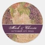 Faire-part de mariage âgé de vignoble de raisin autocollant rond