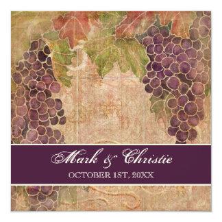 Faire-part de mariage âgé de vignoble de raisin