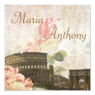 Faire-part de mariage antique de cru de rose de carton d'invitation  13,33 cm