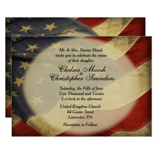 Faire-part de mariage antique de drapeau américain