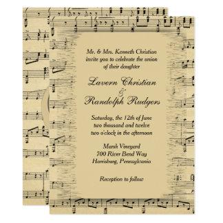 Faire-part de mariage antique de thème de musique