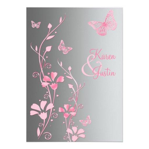 faire part de mariage argent et rose de papillons carton d 39 invitation 12 7 cm x 17 78 cm zazzle. Black Bedroom Furniture Sets. Home Design Ideas
