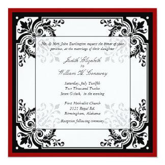 Faire-part de mariage baroque noir, blanc, et