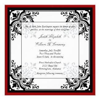 Faire-part de mariage baroque noir, blanc, et roug