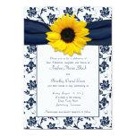 Faire-part de mariage blanc de tournesol de carton d'invitation  12,7 cm x 17,78 cm