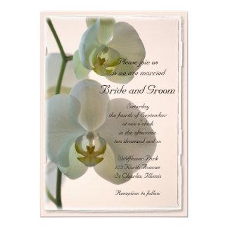 Faire-part de mariage blanc élégant d'orchidées