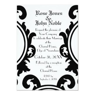 Faire-part de mariage (blanc) noir baroque