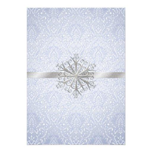 Faire-part de mariage bleu chic de flocon de neige