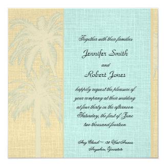 Faire-part de mariage bleu crème de palmiers