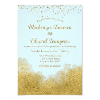 Faire-part de mariage bleu de confettis d'or