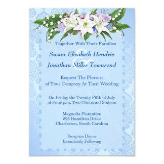 Faire-part de mariage bleu de fleur
