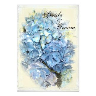 Faire-part de mariage bleu de fleur d'hortensia