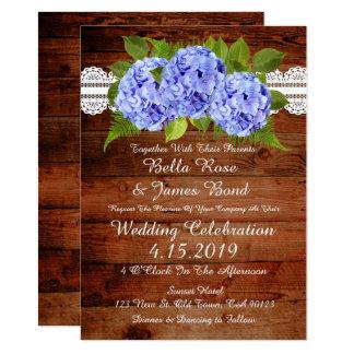 Faire-part de mariage bleu d'hortensia de dentelle