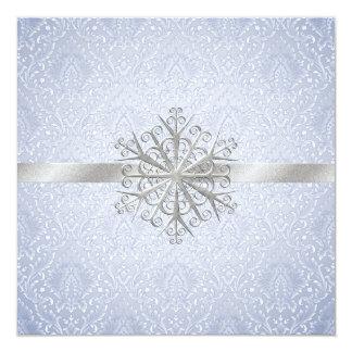 Faire-part de mariage bleu élégant de neige