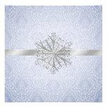 Faire-part de mariage bleu élégant de neige d'hive