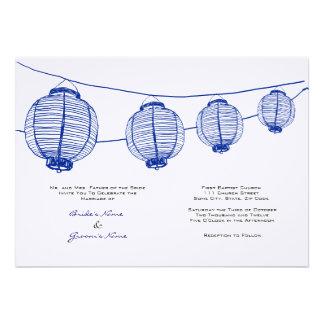 Faire-part de mariage bleu et blanc de lanternes