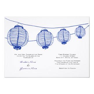 Faire-part de mariage bleu et blanc de lanternes carton d'invitation  12,7 cm x 17,78 cm