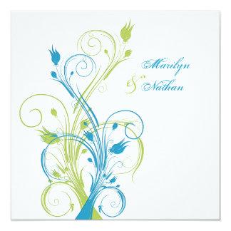 Faire-part de mariage carré floral blanc de vert