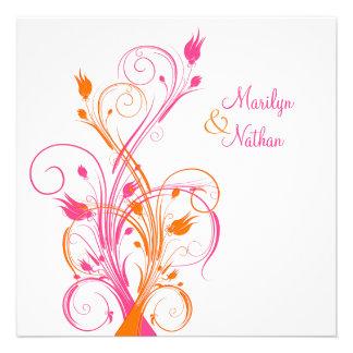 Faire-part de mariage carré floral blanc rose