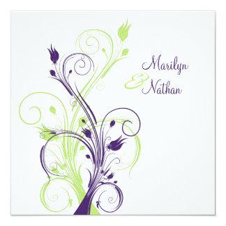 Faire-part de mariage carré floral blanc vert