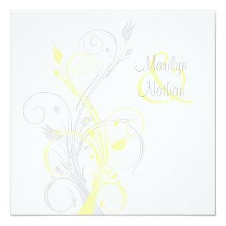 Faire-part de mariage carré floral jaune de blanc