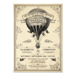 Faire-part de mariage chaud vintage de ballon à carton d'invitation  12,7 cm x 17,78 cm