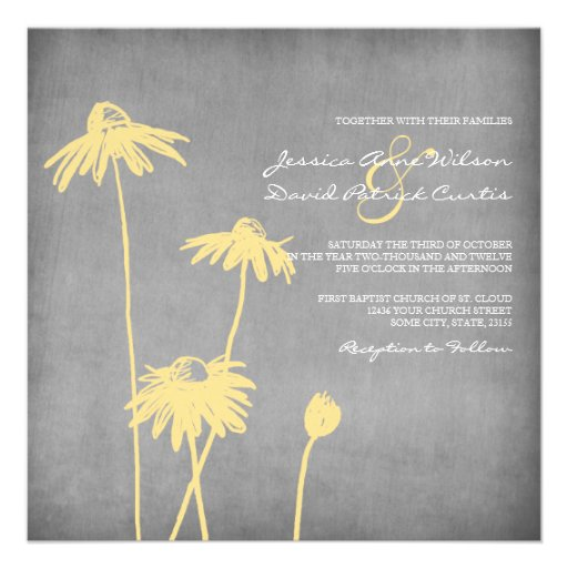 Faire-part de mariage chic jaune et gris de fleur