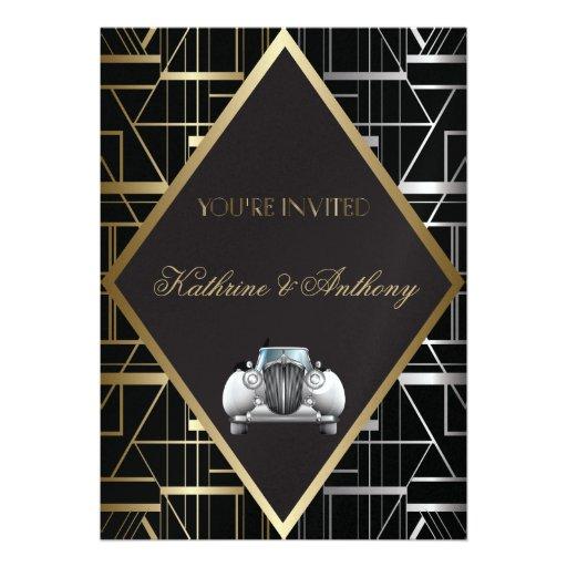 Faire-part de mariage classique de Gatsby Deco