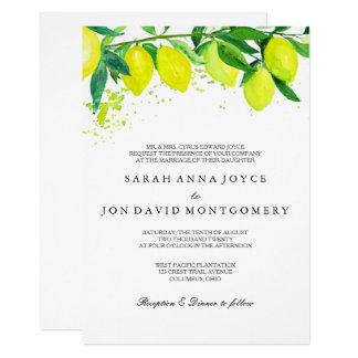 Faire-part de mariage d'agrume/citron d'aquarelle