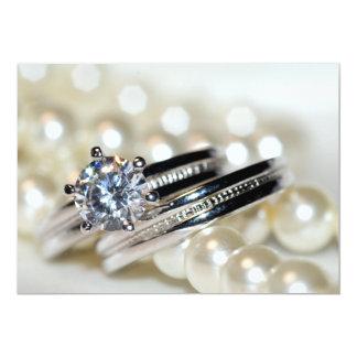 Faire-part de mariage d'anneaux et de perles de