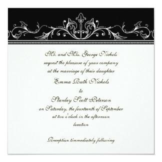 Faire-part de mariage de blanc de noir de carton d'invitation  13,33 cm