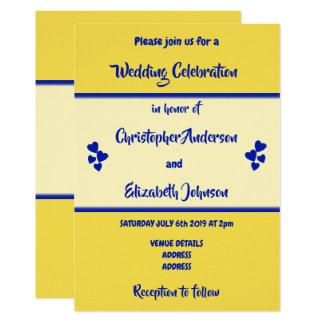 Faire-part de mariage de bleu royal et de jaune