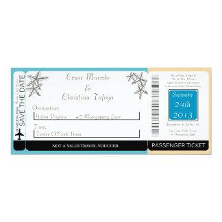 Faire-part de mariage de carte d'embarquement de carton d'invitation  10,16 cm x 23,49 cm
