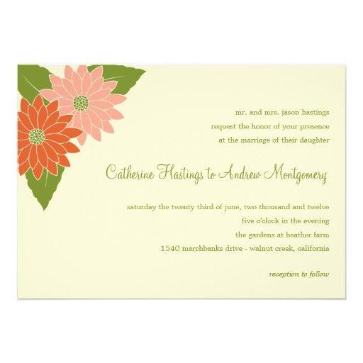 Faire-part de mariage de chrysanthème - rose/orang