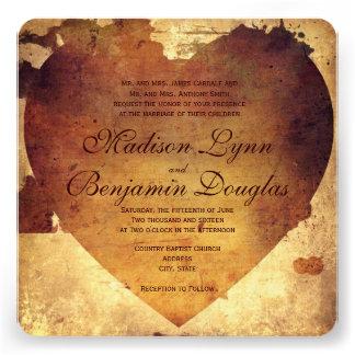 Faire-part de mariage de coeur affligé par pays ru