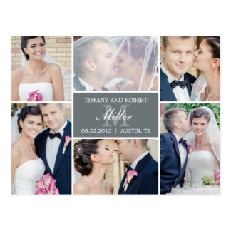 Faire-part de mariage de collage de monogramme - g cartes postales