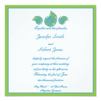 Faire-part de mariage de coquillage de turquoise