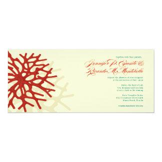 Faire-part de mariage de corail de récif d'océan carton d'invitation  10,16 cm x 23,49 cm
