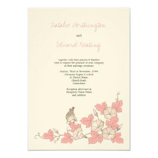 Faire-part de mariage de corail vintage d'oiseau carton d'invitation  12,7 cm x 17,78 cm