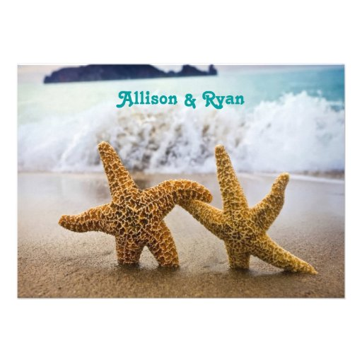 Faire-part de mariage de couples d'étoiles de mer