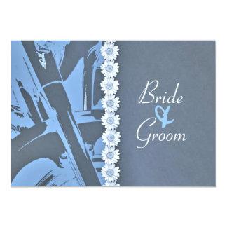 Faire-part de mariage de cuir bleu et de cycliste carton d'invitation  12,7 cm x 17,78 cm