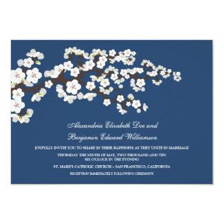 Faire-part de mariage de fleurs de cerisier (bleu