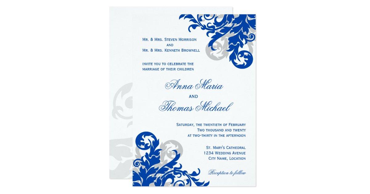 faire part de mariage de flourish de bleu royal et zazzle. Black Bedroom Furniture Sets. Home Design Ideas