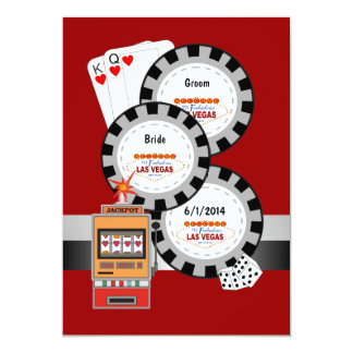 Faire-part de mariage de jeton de poker de Las Carton D'invitation 12,7 Cm X 17,78 Cm