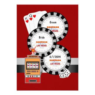 Faire-part de mariage de jeton de poker de Las Veg