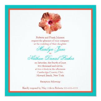 Faire-part de mariage de ketmie de corail et carton d'invitation  13,33 cm