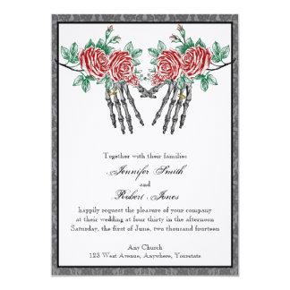 Faire-part de mariage de mains squelettiques