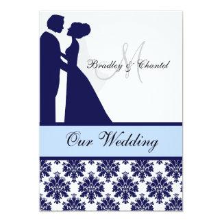 Faire-part de mariage de marine, de bleu, et blanc
