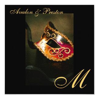 Faire-part de mariage de monogramme d'or de masque