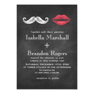 Faire-part de mariage de moustache et de lèvres